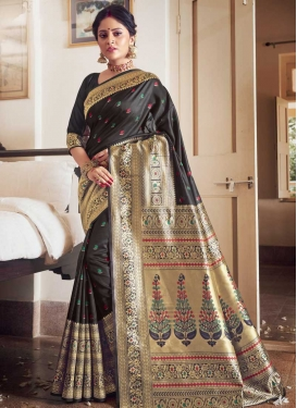 Jacquard Silk Woven Work Designer Contemporary Style Saree