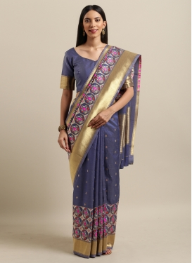 Jacquard Silk Woven Work Traditional Designer Saree