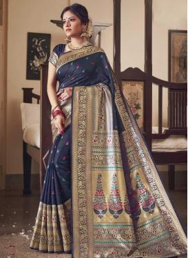 Jacquard Silk Woven Work Trendy Classic Saree