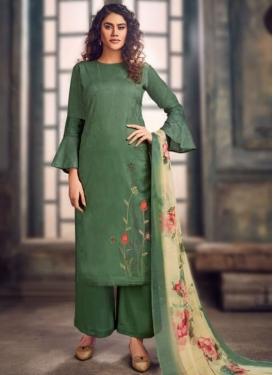 Jam Silk Palazzo Straight Salwar Suit For Festival