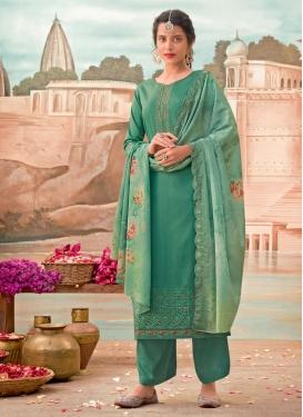 Jam Silk Palazzo Style Pakistani Salwar Kameez For Ceremonial