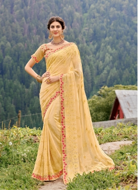 Jazzy Yellow Embroidered Faux Georgette Classic Saree