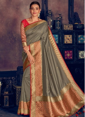 Kajal Aggarwal Resham Work Designer Contemporary Style Saree For Festival
