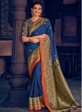 Kajal Aggarwal Resham Work Designer Traditional Saree