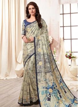 Kanjivaram Silk Digital Print Work Designer Contemporary Style Saree