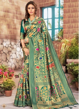 Kanjivaram Silk Thread Work Designer Contemporary Style Saree