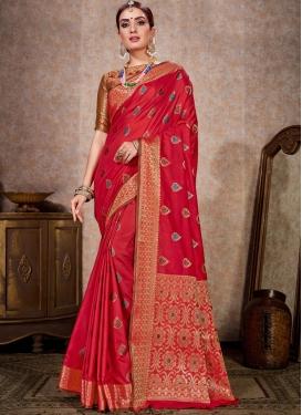 Kanjivaram Silk Woven Work Designer Contemporary Style Saree