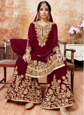 Karachi Work Faux Georgette Sharara Salwar Suit