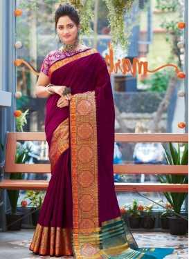 Khadi Silk Designer Contemporary Style Saree For Casual