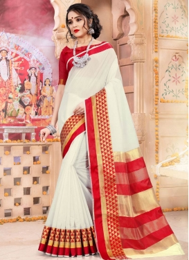 Khadi Silk Woven Work Red and White Trendy Classic Saree