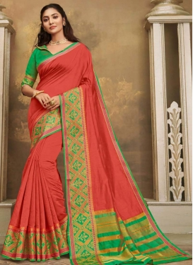 Khadi Silk Woven Work Sea Green and Tomato Trendy Classic Saree