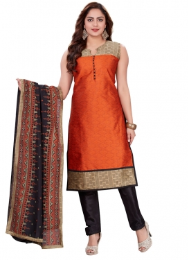 Lace Work Art Silk Black and Orange Readymade Churidar Salwar Suit