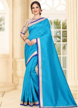 Lace Work Art Silk Traditional Designer Saree