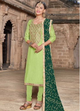 Lace Work Art Silk Trendy Churidar Salwar Suit