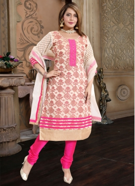Lace Work Banarasi Silk Readymade Churidar Salwar Kameez
