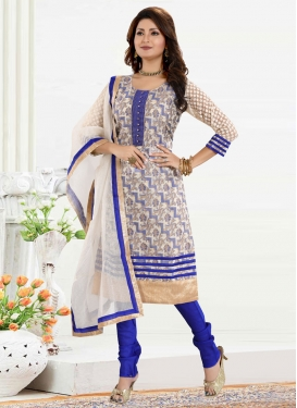 Lace Work Blue and Off White Readymade Churidar Suit