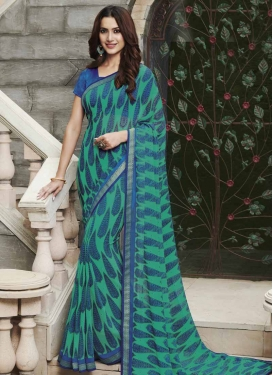 Lace Work Blue and Sea Green Contemporary Style Saree