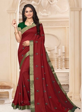 Lace Work Bottle Green and Maroon Designer Contemporary Style Saree