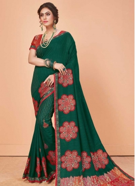 Lace Work Bottle Green and Red Trendy Classic Saree