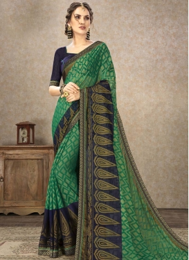 Lace Work Brasso Georgette Green and Navy Blue Designer Traditional Saree