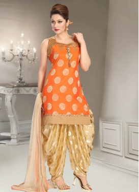 Lace Work Brocade Beige and Orange Readymade Salwar Suit