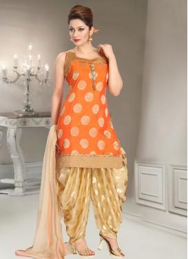 Lace Work Brocade Beige and Orange Readymade Salwar Suit