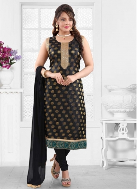 Lace Work Brocade Readymade Churidar Salwar Kameez