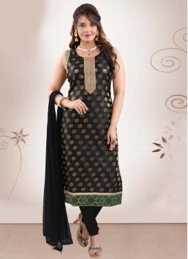 Lace Work Brocade Readymade Churidar Salwar Suit