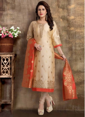 Lace Work Brocade Readymade Churidar Suit
