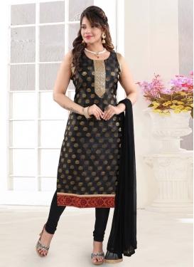 Lace Work Brocade Readymade Churidar Suit