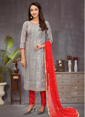 Lace Work Chanderi Silk Churidar Salwar Kameez
