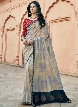 Lace Work Chanderi Silk Designer Contemporary Style Saree