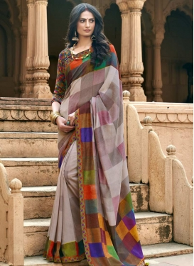 Lace Work Chanderi Silk Designer Contemporary Style Saree For Casual