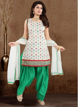 Lace Work Chanderi Silk Off White and Sea Green Readymade Suit