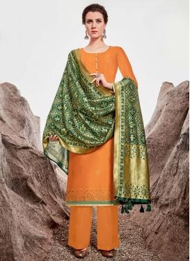 Lace Work Chanderi Silk Palazzo Style Pakistani Salwar Suit