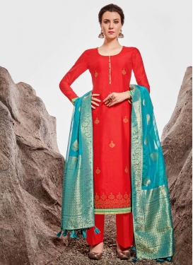 Lace Work Chanderi Silk Palazzo Style Pakistani Salwar Suit