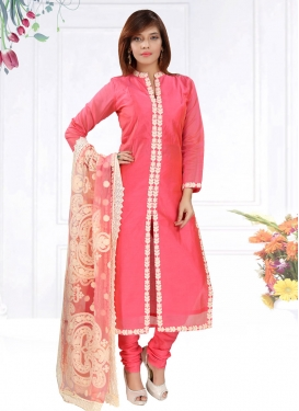 Lace Work Chanderi Silk Readymade Churidar Salwar Suit