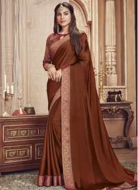 Lace Work Chiffon Satin Designer Contemporary Style Saree