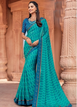 Lace Work Classic Saree For Casual