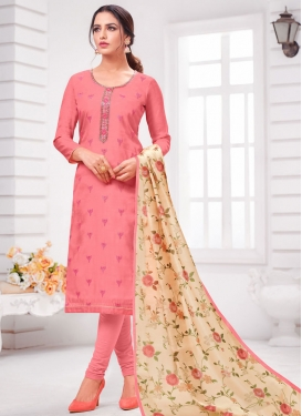 Lace Work Cotton Silk Trendy Churidar Salwar Suit