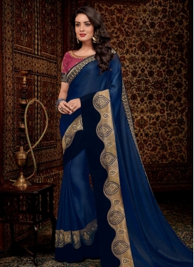 Lace Work Crepe Silk Classic Designer Saree