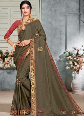 Lace Work Designer Contemporary Style Saree For Casual