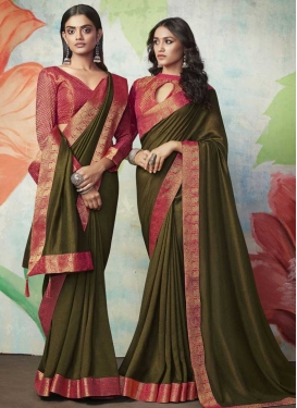Lace Work Designer Traditional Saree For Casual