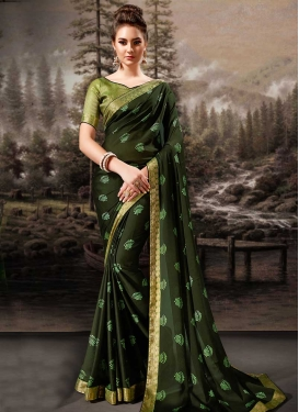 Lace Work Faux Chiffon Designer Traditional Saree For Ceremonial