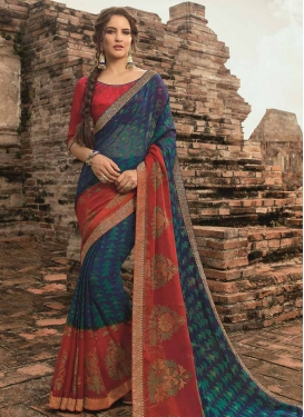 Lace Work Faux Chiffon Navy Blue and Red Traditional Saree