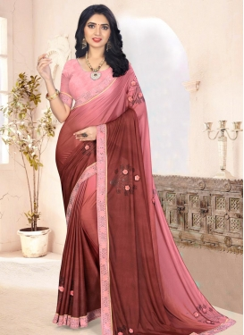 Lace Work Faux Chiffon Rust and Salmon Trendy Classic Saree