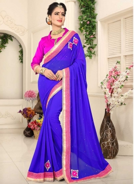 Lace Work Faux Chiffon Trendy Saree
