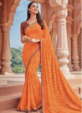 Lace Work Faux Georgette Contemporary Style Saree