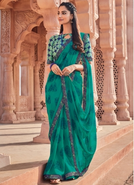 Lace Work Faux Georgette Trendy Classic Saree