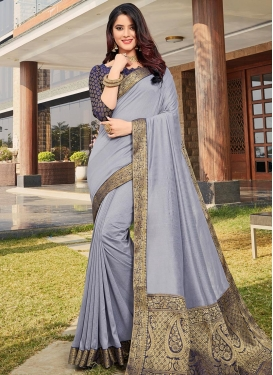 Lace Work Grey and Navy Blue Designer Contemporary Style Saree
